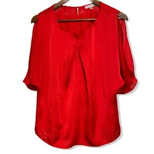 VIOLET & CLAIRE Cold Shoulder Red Silky Blouse, M